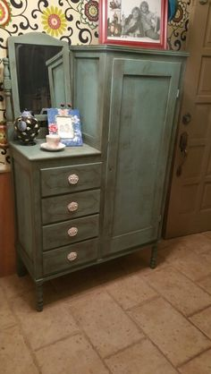 Great Craig's List find I painted with Annie Sloan Provence and finished with dark wax.