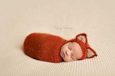 Knit Fox SetNewborn Fox HatLuxurious Mohair Baby by martenitza