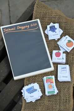 so stinkin' cute! turn a DVD case into a shopping list for kids! magnetic or chalkboard style, with cut-out items to put on them. then use old containers for their 'store' and there you have it! *also a good way to teach them how you go shopping - take it with them!