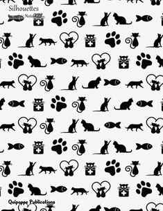 """Silhouettes Isometric Notebook Isometric Notebook Workbook Graph Paper Triangle Sheets, Silhouettes Funny Cat and Fish Pattern ISO8.5 Cover, 8.5x11"""", 200 Pages #isometricnotebooks #notebooks #cats #nature #animals #silhouettes #collections"""