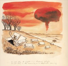 "Charles Addams Illustrates Mother Goose, ""A red sky at night is a shepherd's delight, / A red sky in the morning is a shepherd's warning. Addams Family Cartoon, Los Addams, Charles Addams, Cartoon Books, Mother Goose, Kids Shows, Macabre, Night Skies, Comic Art"