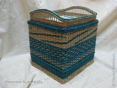 Поделка изделие День рождения Декупаж Плетение Очень практичная коробка Трубочки бумажные фото 1