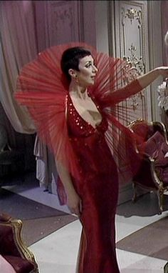 I think  seeing this woman's frocks on TV when I was a little kid is what turned me in to a drag queen. Servalan in Blake's 7 - dreadful show, but ooooooh the camp frocks she wore.