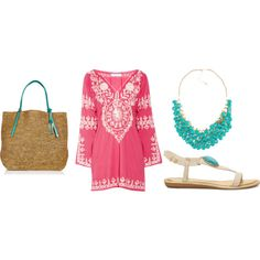 This is a great look for the beach. Turquoise & Coral together.
