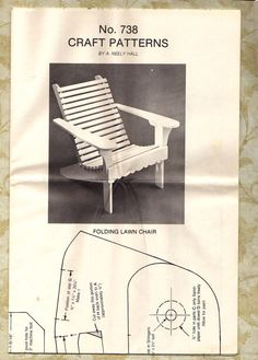 Vintage Pattern For Child's Adirondack Folding Chair - 1981 - Full Size With…