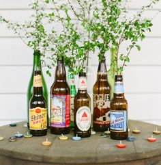 These beer bottle vases might be perfect for our beer-loving bride!