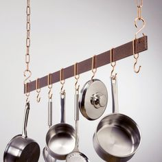 Hammered Copper Hanging Bar Pot Rack - Hanging Pot Racks at Pot Racks Galore