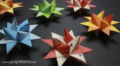tutorial estrella de papel navidad / origami froebel paper stars christmas