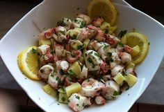 Recipe for Octopus salad - All the Recipes Fish Recipes, Seafood Recipes, Salad Recipes, Cooking Recipes, Seafood Salad, Seafood Dishes, Finger Food Appetizers, Appetizer Recipes, Octopus Salad