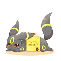 Umbreon in a bin Umbreon And Espeon, Pokemon Eeveelutions, Pokemon Pins, All Pokemon, Pokemon Pocket, Cute Pokemon Wallpaper, Kawaii Chibi, Anime Animals, Cute Pictures