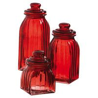 3-Piece Charlotte Canister Set in Red