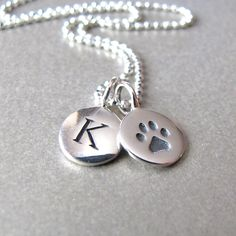 Silver Initial & Paw Print Charm Necklace - Personalized by tangerinejewelryshop on Etsy https://www.etsy.com/listing/123734167/silver-initial-paw-print-charm-necklace