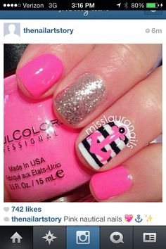 Nail art. Pink, blue, and white. Nautical.