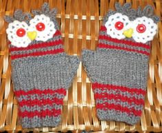 Owl Wrist Warmers Fingerless Gloves Ladies Teens Gray Red Knitted Size Small | eBay