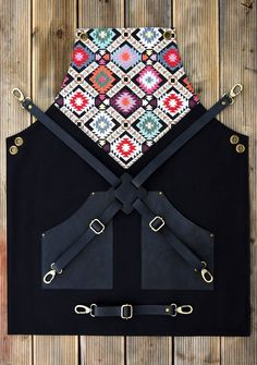 Leather Apron Barista Apron Leather and Canvas Embroidered Ethnic Apron Black Apron Special Gifts For Him, Unique Gifts For Him, Leather Gifts, Leather Craft, Hairstylist Apron, Barber Apron, Embroidered Apron, Black Apron, Leather Apron
