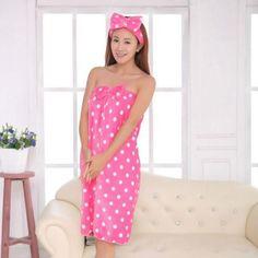 Absorbent Wrap Body Bath SPA Women Microfiber Bow Headband+Bath Towel Shower