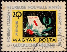 Calendar and mistletoe. Good Luck Symbols, Dec 12, Stamp Collecting, Mistletoe, Postage Stamps, Hungary, Calendar, Europe, Happy