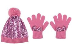 Capelli New York 2 Piece Set  Sequin Knit Skull Cap With With Pom   Poms 8aac8d43d9cc