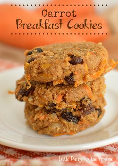 Carrot Breakfast Cookies are a quick, yummy, and healthy cookie to had to the kids on the way out the door! Really, what kid doesn't like cookies for breakfast Little Dairy on the Prairie