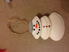 Snowman seashell ornament idea