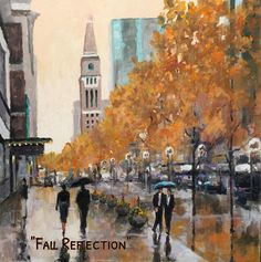 """Fall Reflection"" is a 24 x 24 original acrylic. Denver's 16th Street mall is truly one of my favorite subjects to paint! DM for purchasing information. #IG #denver #urbanlandscape #citylife #artgallery #wallart #homedecor #decor"