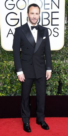 Tom Ford wearing head-to-toe Tom Ford - January 9 2017 Tom Ford Tuxedo, Tom Ford Suit, Tom Ford Men, Golden Globes 2017 Dresses, Mens Evening Wear, Suit Fashion, Mens Fashion, Double Breasted Tuxedo, Formal Dresses With Sleeves