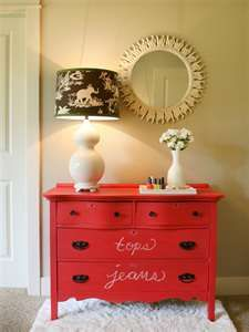 Beautiful red dresser with chalk paint.