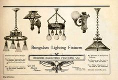 from 'The Plan Shop Bungalow' 1920 - ad for bungalow lighting fixtures