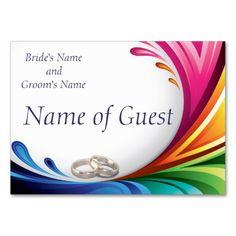 Place Card - Elegant Swirling Rainbow Splash 1 - Rainbow Splash & Wedding Rings Matching Wedding Set #lgbtq #gaymarriage #gaywedding