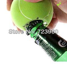 Em vendas de cerveja e Soda Bottle Opener Musical Fridge Magnet mensagem Tennis Ball forma(China (Mainland))