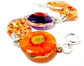 Items similar to Orange and Purple Wire Wrapped Resin Bracelet. Real Flower Bead Bracelet: Brandy on Etsy