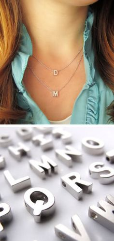 Layered Initial Necklaces <3