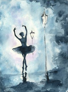 Items similar to Hope - fine art watercolor print ballerina dancing into the distance - varying sizes on Etsy Ballerina Painting, Ballerina Art, Ballet Art, Ballerina Shoes, Dancer Drawing, Painting & Drawing, Dancing Drawings, Art Drawings, Watercolor Print