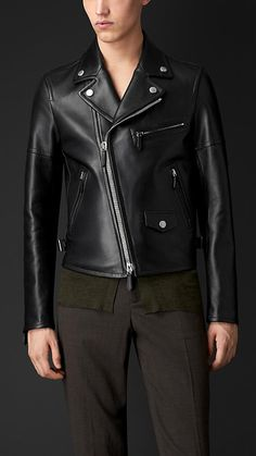Burberry Black Leather Biker Jacket - A biker jacket crafted in soft lambskin. With an asymmetric zip closure and padded multistitch panels, the jacket features classic biker detailing. Discover the men's outerwear collection at Burberry.com