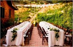 long tables and pretty rustic runners