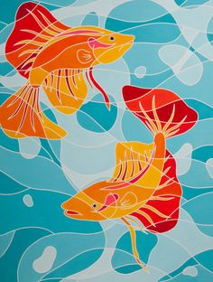 """The Dance"""" Fine Art Painting Print of 100 -- Bright Color & Modern Tropical Hawaiian Fish - Stained Glass Style Silk Painting, Painting & Drawing, Painting Prints, Paintings, Zentangle, Art Drawings For Kids, Modern Tropical, Fish Art, Mural Art"""