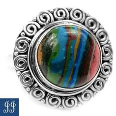s8-21605-RAINBOW-CALSILICA-925-STERLING-SILVER-RING-SIZE-8-JEWELRY-4-6gr
