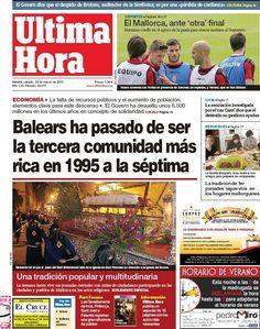 Los Titulares y Portadas de Noticias Destacadas Españolas del 30 de Marzo de 2013 del Diario Ultima Hora ¿Que le parecio esta Portada de este Diario Español?