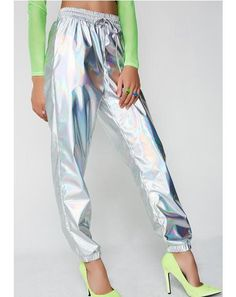 Spacecraft Joggers cuz ya ready to invade ya space. Escape to space with these holographic joggers with an elastic hem and waistband.