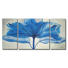 @Overstock - Large and dramatic, this beautiful gallery-wrapped canvas art print of 'Blue Flower' is an easy way to add style to an empty wall. The print covers three canvases and features bold colors and a floral print that complements a range of decor styles.http://www.overstock.com/Home-Garden/Hand-painted-Blue-Flower-Gallery-wrapped-3-piece-Art-Set/4653473/product.html?CID=214117 $117.99