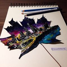 Young artist from Poland, Joanna Wirażka found an unusual use of autumn leaves. Using colored pencils and acrylic paint she draws on leaves beautiful scenery and starry skies. Each work of the artist takes about … Art Inspo, Kunst Inspo, Inspiration Art, Amazing Drawings, Cool Drawings, Amazing Art, Art Drawings Beautiful, Pencil Drawings, Amazing Paintings
