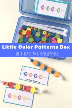 Little Color Patterns Box for kids to work on color recognition, patterning and fine motor skills! Fine Motor Activities For Kids, Math For Kids, Infant Activities, Preschool Activities, Preschool Kindergarten, Color Activities, Physical Activities, Early Learning, Kids Learning