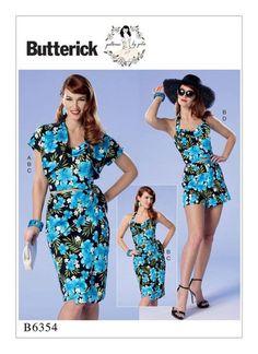 Butterick B6354 Sewing Pattern Bolero, Bustier, Sarong, Shorts Misses Sz 14-22