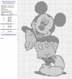 Mickey Cross Stitch Kits, Counted Cross Stitch Patterns, Cross Stitch Charts, Cross Stitch Embroidery, Mickey Mouse Crafts, Mickey Mouse Bday, Nifty Crafts, Embroidery Patches, Disney Cartoons