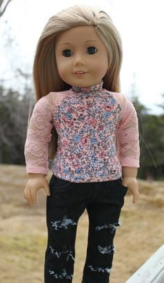 18 inch doll clothes peach lace sleeve floral by UpbeatPetites