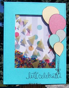https://flic.kr/p/ymQddJ   Let's Celebrate Shaker Card   Made with the September, 2015, Simon Says Stamp Card Kit. Patterned paper by Pink Fresh Studio. Seed beeds from my stash.