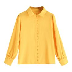Covered Button Fluid Blouse (69 PLN) ❤ liked on Polyvore featuring tops, blouses, yellow top and yellow blouse