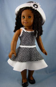 Sundress and Hat fits American Girl Doll - Black and White - Shoulder Tie