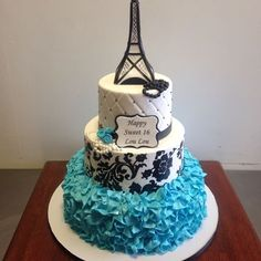 Teal black and white Paris themed Eiffel Tower sweet sixteen