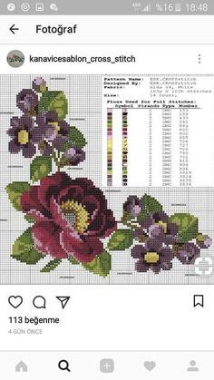 Cross Stitch Boarders, Cross Stitch Designs, Cross Stitching, Cross Stitch Embroidery, Hand Embroidery, Cross Stitch Patterns, Russian Cross Stitch, Cross Stitch Rose, Cross Stitch Flowers